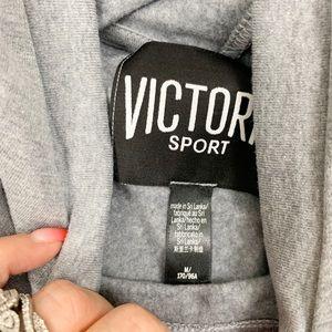 Victoria's Secret Tops - Victoria Secret Sport Grey Hooded Sweater D1963